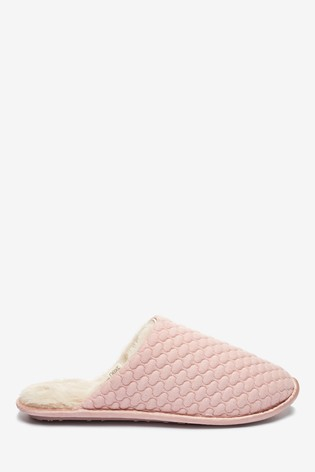 Pink Quilted Mule Slippers