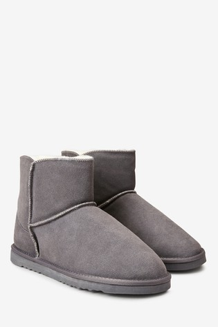 Grey Suede Slipper Boots