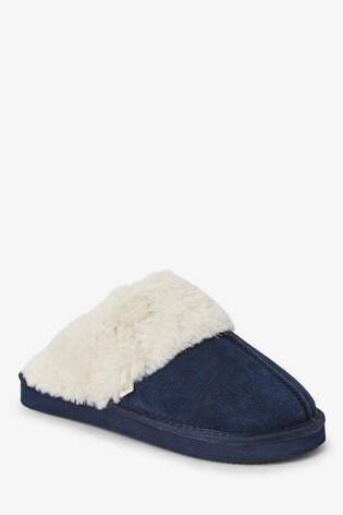 Navy Suede Mule Slippers