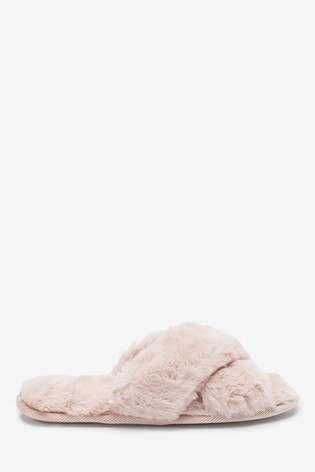 Pink Recycled Faux Fur Slider Slippers