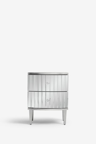 Rochelle Mirrored 2 Drawer Bedside Table