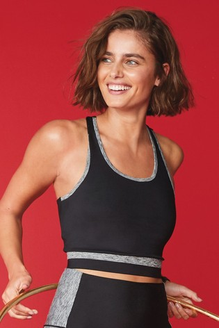 Black Colourblock Sculpting Sports Crop Top