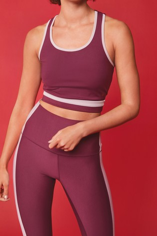 Berry Colourblock Sculpting Sports Crop Top