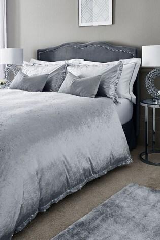 Velvet Sequin Border Duvet Cover And Pillowcase Set
