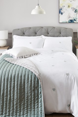 Embroidered Hearts Duvet Cover and Pillowcase Set