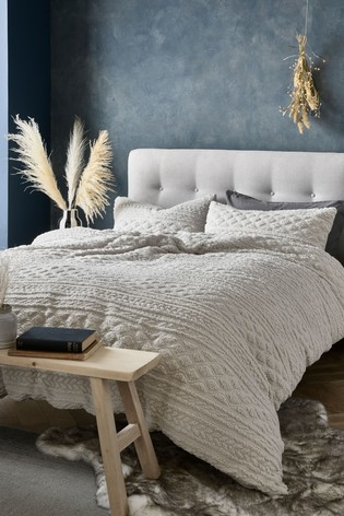 Fleece Cable Knit Duvet Cover And Pillowcase Set