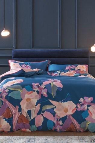 100% Cotton Sateen Canvas Floral Duvet Cover And Pillowcase Set