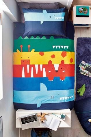 Animal Stripe Reversible Duvet Cover And Pillowcase Set
