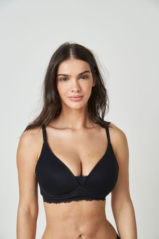 Black Daisy DD+ Lightly Padded Wire Free Forever Comfort® Bra