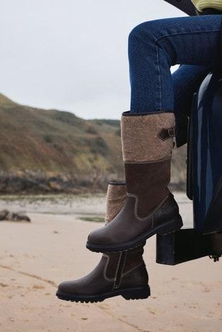 Brown Performance Waterproof Signature Leather Midi Felt Boots