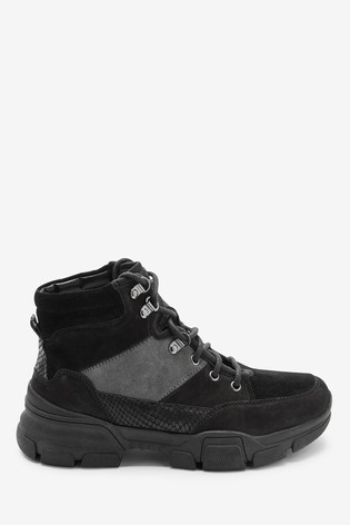 Black Performance Water Repellent Leather Hiker Style Boots