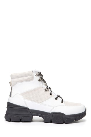 White Performance Water Repellent Leather Hiker Style Boots
