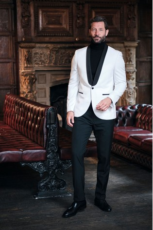 White Slim Fit Tuxedo Suit: Jacket