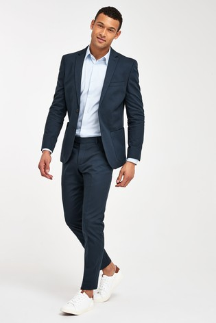 Navy Jacket Cotton Slim Fit Suit