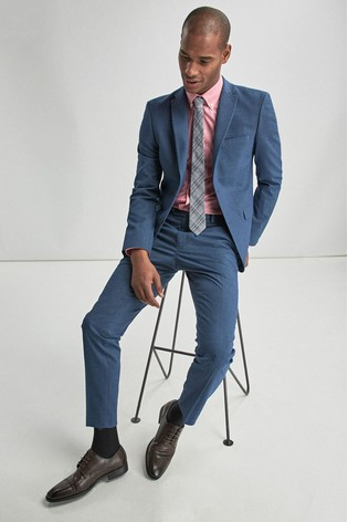 Blue Skinny Fit Stretch Marl Suit: Jacket