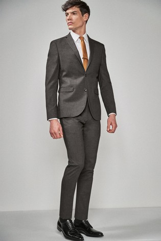 Grey Slim Fit Stretch Marl Suit: Jacket