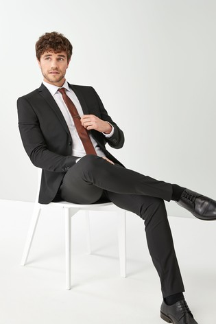 Black Skinny Fit Stretch Tonic Suit: Jacket