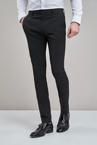 Black Super Skinny Fit Stretch Tonic Suit: Trousers