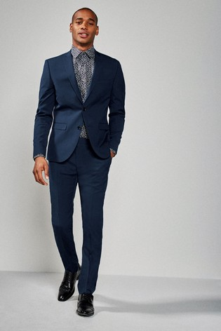 Bright Blue Slim Fit Stretch Tonic Suit: Jacket