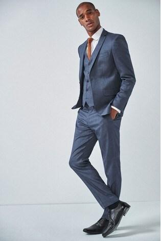 Blue Slim Fit Donegal Suit: Jacket