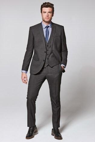 Charcoal Slim Fit Textured Suit: Jacket