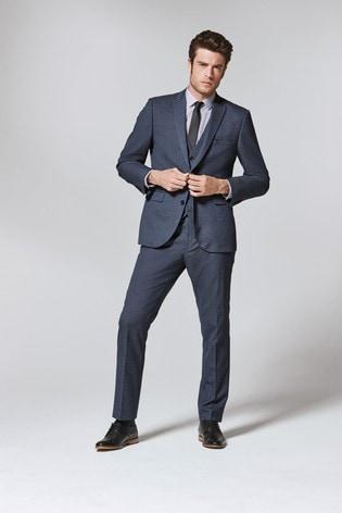 Light Blue Tailored Fit Textured Suit: Jacket