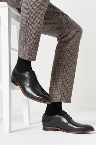Black Signature Leather Plain Derby Shoes