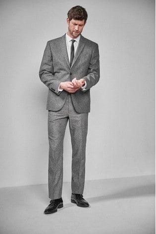 Grey Regular Fit Donegal Suit: Jacket