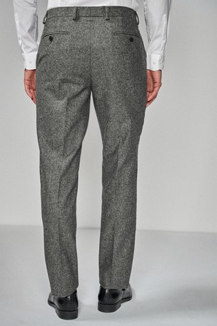 Grey Regular Fit Donegal Suit: Trousers