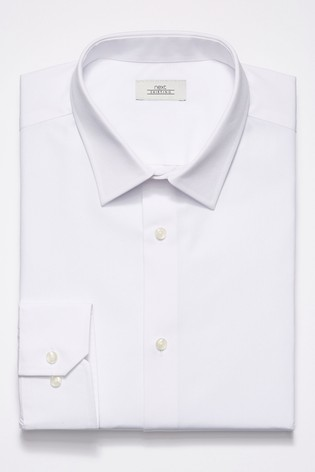White Regular Fit Single Cuff Easy Care Shirt