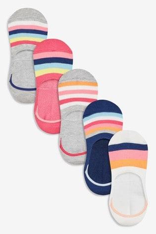 Multi Stripe Invisible Trainer Socks Five Pack