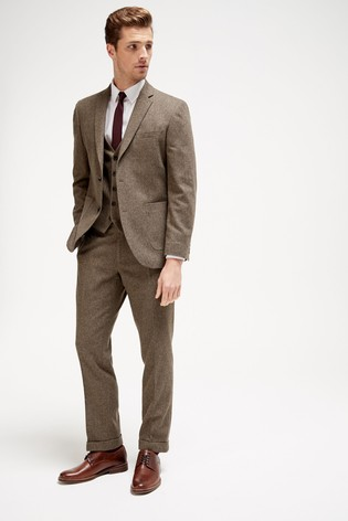 Brown Tailored Fit Herringbone Suit: Jacket