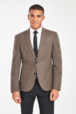 Brown Skinny Fit Herringbone Suit: Jacket