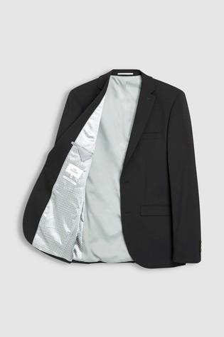 Black Tailored Fit Wool Blend Stretch Suit: Jacket