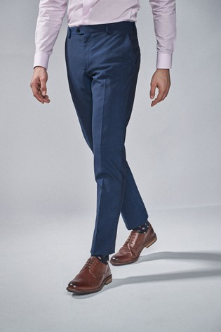 Bright Blue Slim Fit Wool Blend Stretch Suit: Trousers