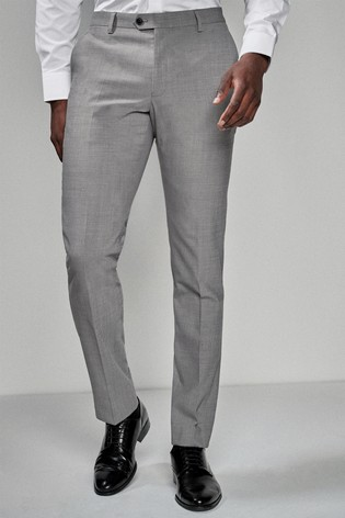 Light Grey Slim Fit Wool Blend Stretch Suit: Trousers