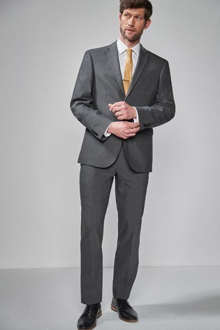 Charcoal Regular Fit Wool Blend Stretch Suit: Jacket