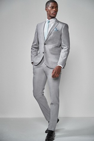 Light Grey Slim Fit Wool Blend Stretch Suit: Jacket