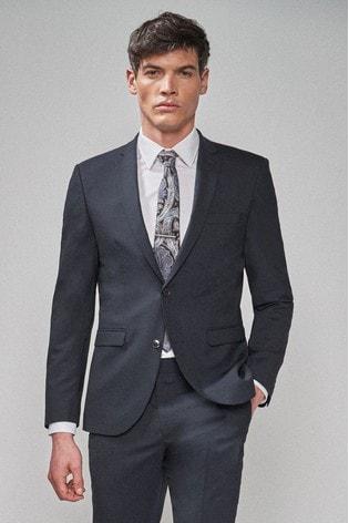 Navy Slim Fit Wool Blend Stretch Suit: Jacket