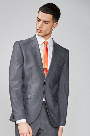 Charcoal Slim Fit Wool Blend Stretch Suit: Jacket