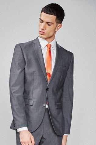 Charcoal Slim Fit Wool Blend Stretch Suit: Jacket