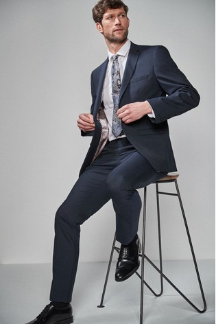 Navy Tailored Fit Wool Blend Stretch Suit: Jacket