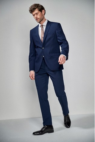 Mid Blue Tailored Fit Wool Blend Stretch Suit: Jacket