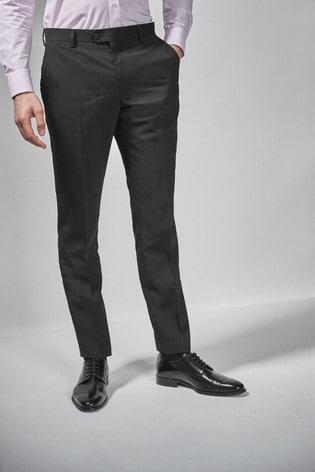 Black Slim Fit Wool Blend Stretch Suit: Trousers
