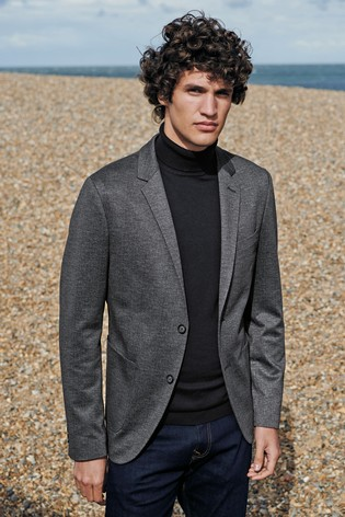 Charcoal Slim Fit Check Stretch Blazer