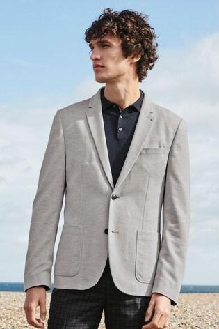 Light Grey Slim Fit Jersey Blazer