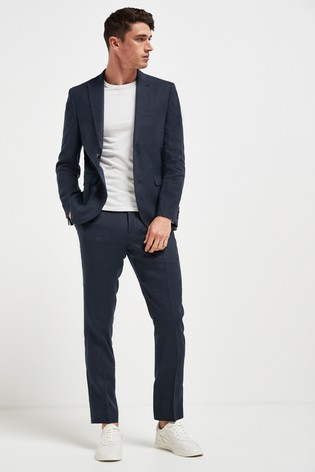 Navy Slim Fit Signature Linen Suit: Jacket