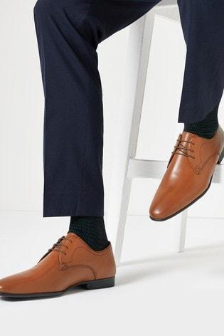 Tan Leather Plain Derby Shoes