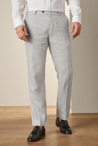 Grey Tailored Fit Signature Linen Suit: Trousers