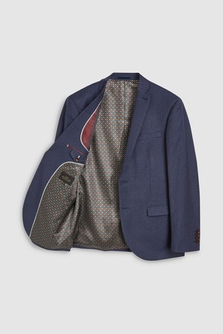 Blue Regular Fit Signature Flannel Suit: Jacket